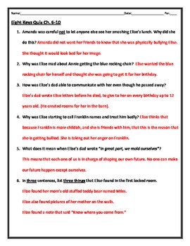 Eight Keys Quiz- Ch. 6-10 (grades 4-6 & low middle)
