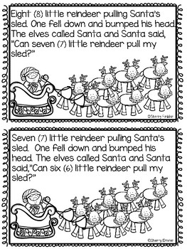 Eight Little Reindeer Subtraction Story and Pocket Chart