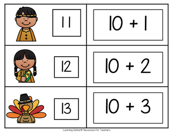 Eight Math Games for Teen Numbers 11 - 20 Thanksgiving Theme