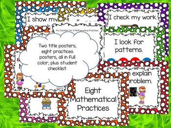 Eight Mathematical Practices for Little Kids Poster Set: Spotty Dots version