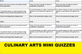 Eight Mini Quizzes for Culinary Arts or FACS; Sanitation, Measurement and Math