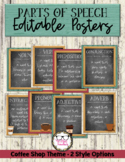 Eight Parts of Speech Editable Grammar Posters Coffee Shop Theme
