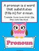 Eight Parts of Speech Posters- Owl Theme