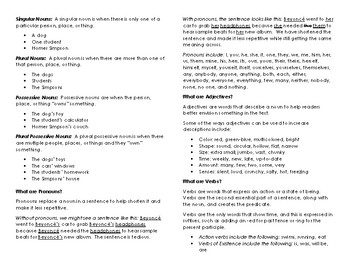 Eight Parts of Speech Reference Booklet
