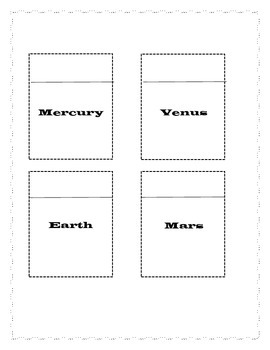 Eight Planets Science Notebook Activity
