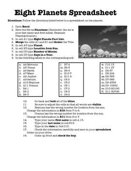 Eight Planets Spreadsheet