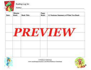 Eight Reading Logs for Independent Reading--Color and Black and White, Set 2