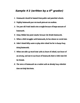 Eight Sentence Persuasive Paragraph Guide with three samples
