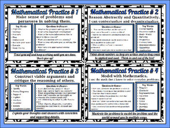 8 Standards for Mathematical Prac.- Second. Lvl. Blk/Wt/Floral