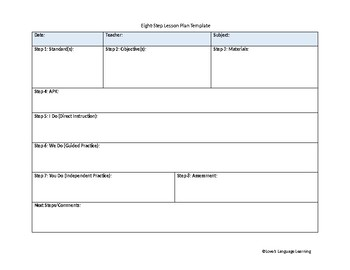Eight-Step Lesson Plan Template