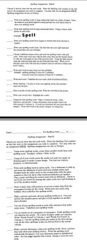 Eight Week Spelling/Vocabulary Contract
