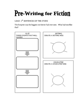 Eight story starters (leads) with pre-writing organizers