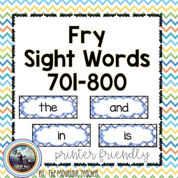 Eighth 100 Fry Word Rings/Word Wall Words/Flash Cards (701-800)
