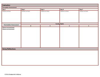 Eighth Grade Common Core Aligned Interactive Lesson Plan Templates