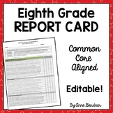 Eighth Grade Report Card Template: Common Core Standards Based Grading