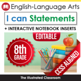 Common Core Standards I Can Statements for 8th Grade ELA - Half Page