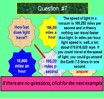 Seventh and Eighth Grade FREE PREVIEW Science Trivia (PowerPoint Lesson)