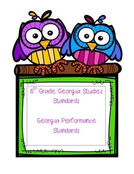 Eighth Grade Georgia Performance Standards: Georgia History Checklist