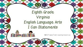 Eighth Grade LA SOL (Virginia) I Can Statements