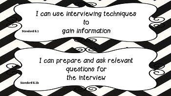 Eighth Grade LA SOL (Virginia) I Can Statements in Black and White Chevron