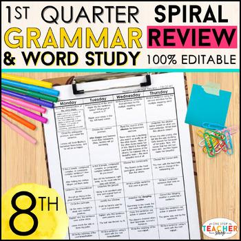 8th Grade Language Homework 8th Grade Daily Language Spiral Review EDITABLE
