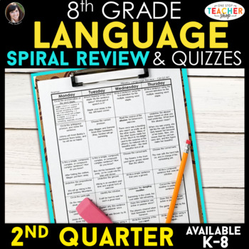 8th Grade Language Homework 8th Grade Daily Language Spiral Review EDITABLE