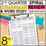 8th Grade Language Spiral Review | 8th Grade Grammar Practice | 2nd Quarter