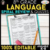 8th Grade Language Homework or Spiral Review Warm Ups & Bell Ringers ENTIRE YEAR