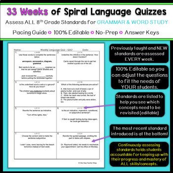 8th Grade Language Spiral Review | 8th Grade Language Arts Homework or Warm Up