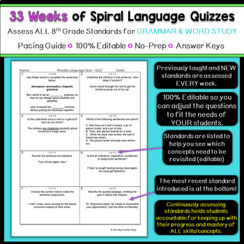 8th Grade Language Spiral Review | 8th Grade Language Arts Homework or Warm Up