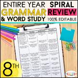 8th Grade Language Spiral Review | 8th Grade Grammar Practice BUNDLE