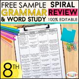 8th Grade Language Homework 8th Grade Daily Language Spiral Review FREE