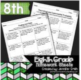 Eighth Grade Math Homework Sheets for Full Year