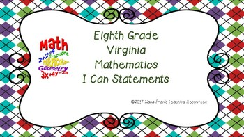 Eighth Grade Math SOL (Virginia) I Can Statements