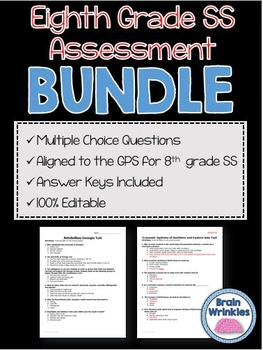 Eighth Grade Social Studies Assessment Pack - Editable