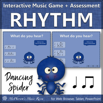 Rhythm Game: Eighth/Quarter Note Interactive Music Game & Assessment {Spider}