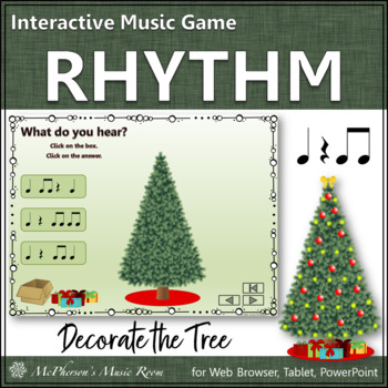 Rhythm: Decorate the Christmas Tree Interactive Music Game {Eighth Notes}