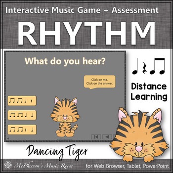 Eighth Notes Interactive Rhythm Game and Assessment {Dancing Tiger}