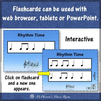 Rhythm Flashcards {Eighth & Quarter Notes} Interactive Rhythm Flash Cards