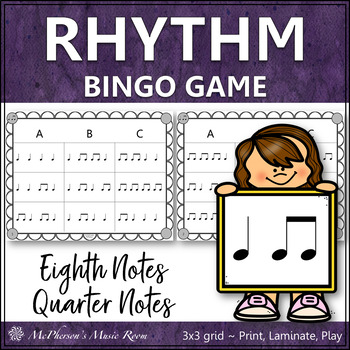 Eighth Notes Rhythm Bingo Game (quarter note/eighth notes)