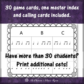 Eighth Notes Rhythm Bingo Game (quarter note/eighth notes)