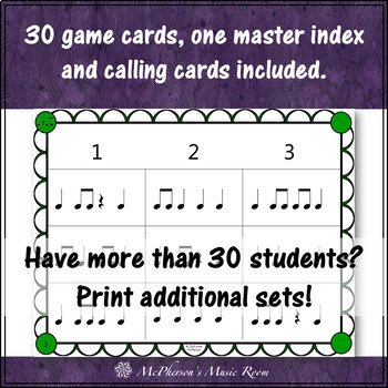 Eighth Notes Rhythm Bingo Game (quarter note/eighth notes/quarter rest) 3x3 grid