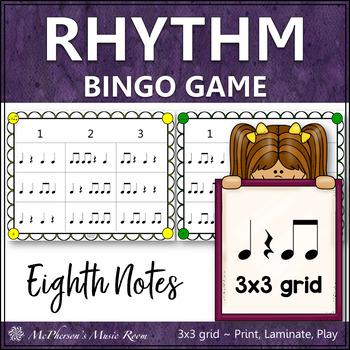Eighth Notes Rhythm Bingo Game (quarter note/eighth notes/