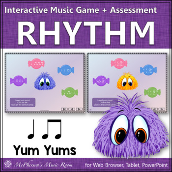 Eighth Notes Yum Yums Interactive Rhythm Game (quarter note/eighth notes)