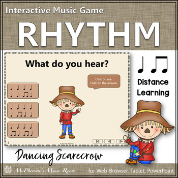Eighth Notes and Quarter Notes Interactive Rhythm Game {Dancing Scarecrow}