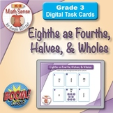 Eighths as Fourths, Halves, and Wholes: BOOM Digital Task Cards 3F16