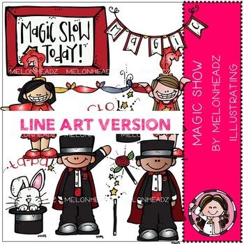 Melonheadz: Magic Show clip art - LINE ART