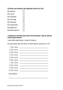 Eine Adventsgeschichte - Textverstehen und Schreiben (DAF Deutsch)