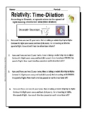 Relativity and Time Dilation Worksheet