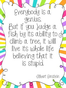 Einstein's Fish Quote Poster Version 1